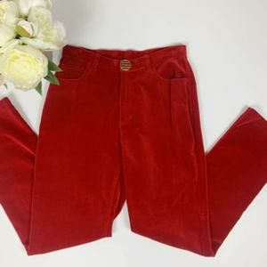 Vintage High Waist Red Velvet Slim Leg Pants